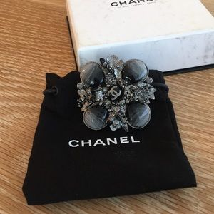 Chanel CC embellished enamel cocktail ring